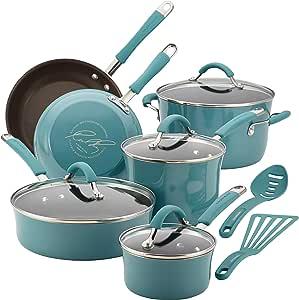 Rachael Ray Cucina 硬搪瓷不粘炊具套装 Agave Blue 12-piece Cookware Set