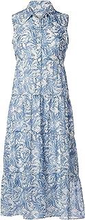 London Times 女式印花梭织无袖修身喇叭裙