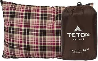 TETON 运动野营枕适合任何时间旅行;露营、背包、飞机和旅行;舒适颈部和腰部支撑;您可以随处携带;可洗枕头