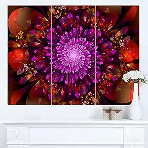 "Designart PT14896-40-30 天天蓝色发光水晶太空墙壁艺术品,101.6 x 76.2 厘米 36x28"" - 3 Panels PT14896-3P"
