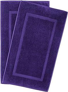 特大尺寸,厚实大号 * 纯棉,奢华酒店和水疗品质,吸水柔软装饰厨房和浴室土耳其毛巾 紫罗兰紫色 Banded Towel Bath Mat