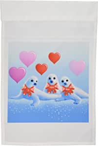 梦 Essence Designs 情人节–baby HARP SEALS ,心形, Valentine , I LOVE YOU ,水动物,海洋生物–旗帜 12 x 18 inch Garden Flag