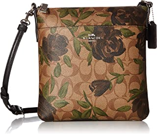 COACH Women's Camo Rose Messenger Crossbody Silver/Khaki/Black One Size