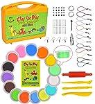 KRAFTZLAB 65 件风干粘土套装 - 15 种颜色的塑模魔黏土 - 适合孩子使用的模型粘土礼物