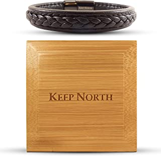 Keep North 男式、女式和青少年经典风格黑色皮革手链,带磁性金色或黑色扣,带精美漆面竹礼盒