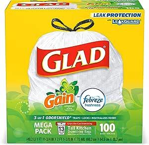 Glad 高大的厨房抽绳垃圾袋——13加仑白色无臭垃圾袋,原始包装,清新干净——100包 (60.3厘米 X 64.5厘米 X 18.3微米 )