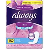 Always Thin Dailies Wrapped Liners, Unscented, 162 Count