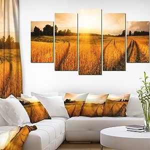 """Designart 4 面板""""日落时的麦田之景""""帆布艺术印刷品 橙色 60x32"""" - 5 Panels Diamond Shape PT6945-373"""