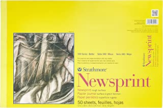 strathmore st307-812 12 in. x 18 in. rough tape bound newsprint pad