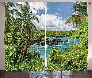 ambesonne 公寓装饰系列,窗方法,客厅卧室窗帘2片套装,