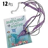 justBe 12 美人鱼项链派对用品赠礼品 适合女孩的个人小包 - 闪亮吊坠 - 手工制作