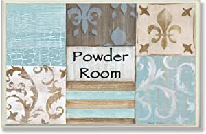 The Stupell 家居装饰系列 Fleur De Lis 粉末室蓝色,棕色和米色壁花,60.96 厘米 x 76.2 厘米 多色 12.5 x 0.5 x 18.5 cm wrp-930_wd_13x19