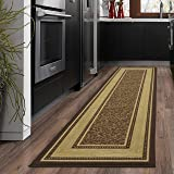 Ottohome Collection Chocolate Contemporary Bordered Design Modern Runner Rug With Non-Skid (Non-Slip) Rubber Backing (2'X7') Non Slip Hall Bathroom Kitchen Runner Rugs Cheap New Long Easy Clean Hallway Mat