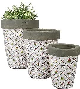 Esschert Design Botanicae 圆形花盆,3 件套