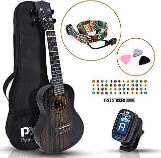 23 英寸红木音乐会尤克里里琴套件 - 传统 4 弦专业尤克里里琴音乐会套装,带数字调谐器、带、手指指南、3 个备用拨片和琴袋,适合初学者和高级 - Pyle PUKT8880