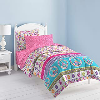 Peace Signs Multicolor Girls Comforter Set 白色 两个