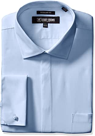 "STACY ADAMS 男士 39000 纯色正装衬衫 蓝色 16.5"" Neck 32-33"" Sleeve"