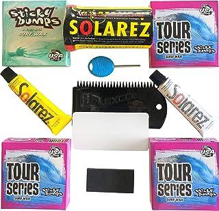 MoeSurfing 粘性凹凸蜡 Plus Solarez UV 固化树脂 Ding 修复套件现在包括一个 Futures 鳍钥匙,3 条旅行系列冷/冷蜡和 1 条底漆,以及一个用于清洁桌面的柔性梳子