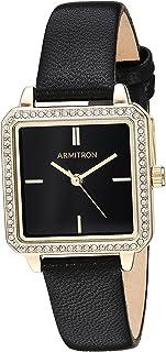 Armitron 女式 施华洛世奇水晶装饰金色手表 黑色皮革表带 75/5597BKGPBK