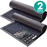 Sierra Concepts 2 件装条纹门地垫 - 室内室外地毯入口通道欢迎地垫带橡胶背衬,适合鞋刮擦,非常适合室内外高*量区域,灰色和黑色 76.20 厘米 x 43.18 厘米