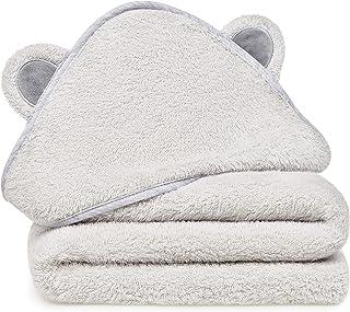 Natemia Rayon Bamboo 连帽婴儿浴巾 — 吸水性强,毛绒,柔软,*防臭毛巾 — 适合男孩、女孩、新生儿和婴儿— 很棒的婴儿沐浴礼物