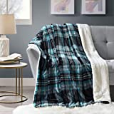 Comfort Spaces 羊绒/长毛绒沙发毯 - 127 x 152.4 厘米轻质舒适沙发床/沙发床/沙发床罩 适合办公室躺椅 水绿色 Plaid CS50-0300