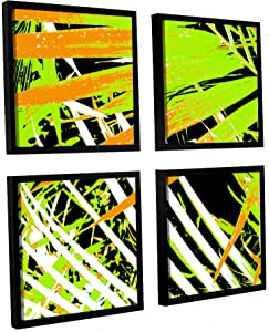 ArtWall 4 Piece Herb Dickinson's Palms Away III Gallery Wrapped Canvas Square Set, 48 x 48""