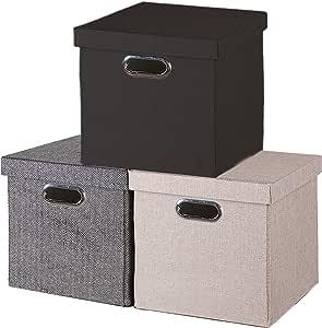 Decor Hut 可折叠储物箱带盖,盖子可整齐储存,携带方便 灰色 DH001-55