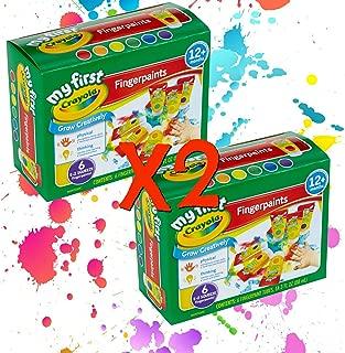 Crayola 可洗手指顏料易擠壓瓶家庭樂趣 適合所有年齡 2 件套(12 瓶 3 盎司每瓶 2 瓶)