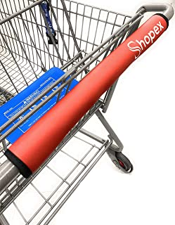 Shopex 购物车把套 适用于购物车、婴儿车和手推车把套 | 适用于成年人、婴儿和环境 | 环保可重复使用 | 40.64 cm 长 | 红色