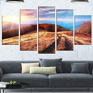 "Designart MT14564-271 美丽的Carpathian 山脉 - 风景艺术品 光面金属墙壁艺术 棕色 60x32"" - 5 Panels Diamond Shape MT14564-373"