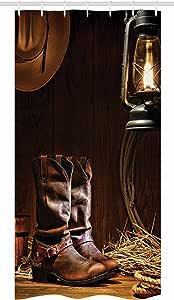 "Ambesonne 西式浴帘,传统皮革工作绳靴,复古农场谷仓,老灯侠图案,织物浴室装饰套装,带挂钩棕色 Multi 1 36"" W By 72"" L stall_10227_36x72"