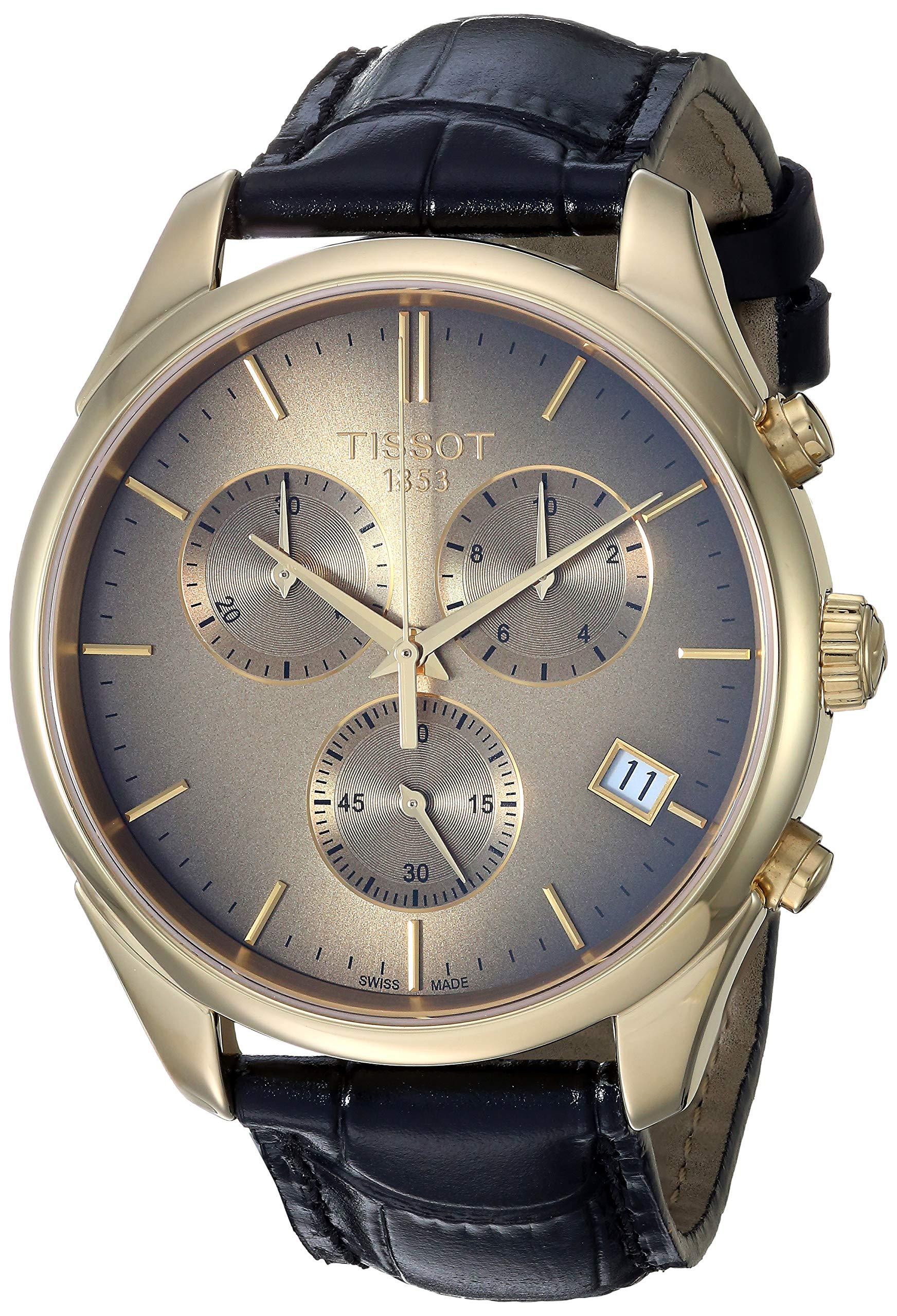 Tissot 男式复古瑞士石英钢和 18K 金正装手表(型号:T9204171629100)