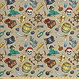 "Ambesonne 海盗面料按码出售,快乐素描卡通图案与冒险海洋旅游海盗主题元素,室内装饰和家居装饰织物,多色 Multi 11 5 Yards (58"" W By 180"" L) fab_55908_5"