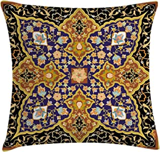 Arabian Throw Pillow Cushion Cover by Ambesonne, Arabic Islamic Floral Mosaic Patterns South Eastern Antique Orient Ottoman Artwork, Decorative Square Accent Pillow Case, 16 X 16 Inches, Multicolor