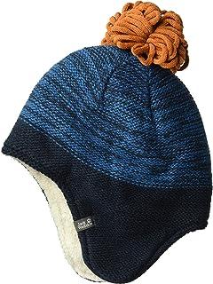 Jack Wolfskin 雪花儿童针织帽,带毛球和耳朵保护帽 中 蓝色 1907451-1121003