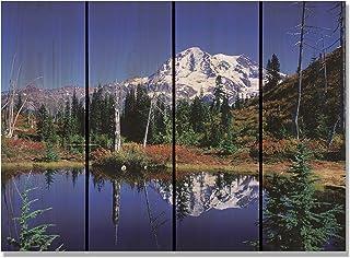 Gizaun Art ML2216 镜子 Lake 22 英寸 X 16 英寸墙壁艺术,内/外,全彩雪松