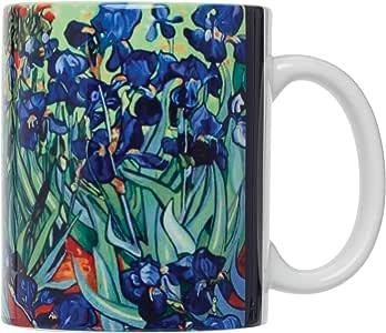 Vincent Van Gogh Les Irises Fine Art Coffee Tea Mug, Fine White Porcelain, 12-Ounces, Set of 4 Mugs