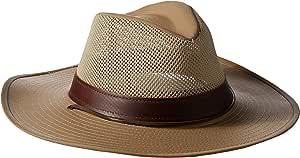 Henschel 男式 Hiker 可压网布布布吸血器,配皮革表带 UPF 50 帽子 中 米色 5297