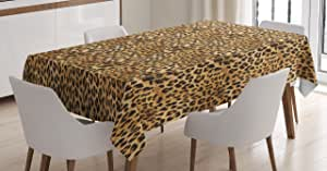Brown Tablecloth by Ambesonne, Leopard Print Animal Skin Digital Printed Wild African Safari Themed Spotted Pattern, Dining Room Kitchen Rectangular Table Cover, 52 X 70 Inches, Brown