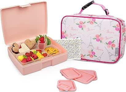 Bentology 男孩午餐袋和盒子套装 - 包括带手柄的隔热袖套、便当盒、5 个容器和冰袋 Paris