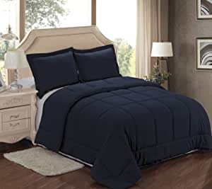 Sweet Home 系列 7 件床上用品套装 - 3 件两色双面羽绒替代被 Navy Comforter, Navy Sheets Queen 7 Pc Bedding Set -