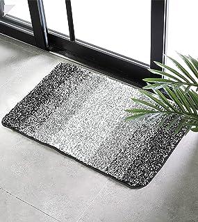 垫子浴室地毯脚擦拭垫长毛表面防滑快干脚轮厨房垫渐变色地毯适用于门耐洗 黑色/白色 小号