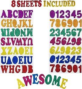 Allgala 12 片装闪光 EVA 泡沫纸 20.32 厘米 x 30.48 厘米 – 各种颜色 – 适合儿童艺术项目和教室或角色扮演 字母 CF85020