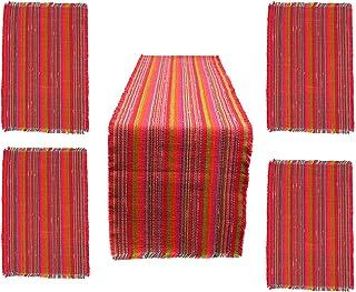 桌旗和 4 个餐垫 - 彩色工匠棉垫 适用于餐桌、厨房、餐厅桌 - 手工制作工艺布 - 独特的婚礼、感恩节、家庭派对、圣诞节礼物 - 5 件套