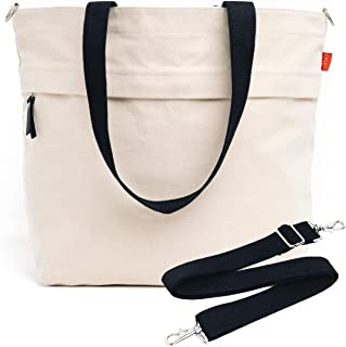 Canvas Market Tote by Abbot Fjord - Large Travel Bag With Outer Zipper Pocket