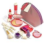 Litti Pritti 女孩假装化妆品 - 11 件游戏化妆套装 - 适用于女孩的逼真玩具化妆套装