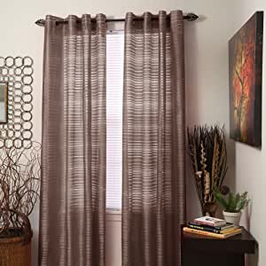 Bedford Home Maggie Grommet Single Curtain Panel, 95-Inch, Chocolate