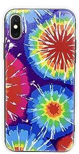 ECHC 原创设计硬质缓冲保护套,适用于 iPhone 型号 iPhone 11 Tie Dye Rainbow Drops