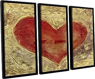 ArtWall Elana Ray's Red Heart of Gold 3 件浮动加框油画套装 36x54 0ray086c3654f